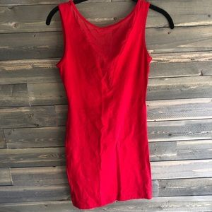Bodycon red dress with mesh V neck